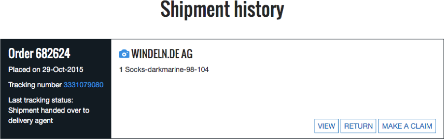 Click on the camera icon to view images of your shipment
